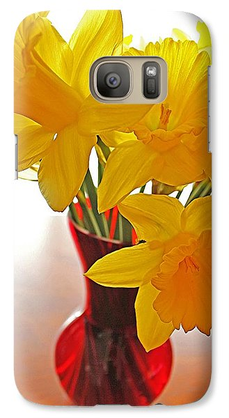 Galaxy Case featuring the photograph Daffodils In Red Vase by Diane Alexander