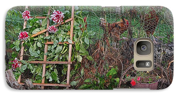 Galaxy Case featuring the photograph Dahlias And Chickens by Denise Romano