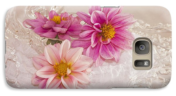 Galaxy Case featuring the photograph Dahlias And Lace by Sandra Foster
