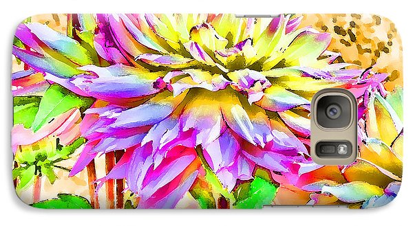 Galaxy Case featuring the photograph Dahlias In Digital Watercolor by Sandra Foster