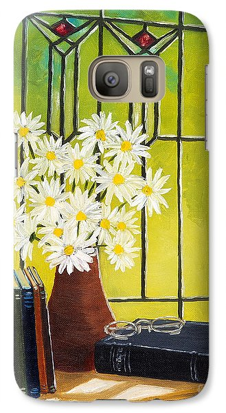 Galaxy Case featuring the painting Daisies And Stained Glass Window by Val Miller