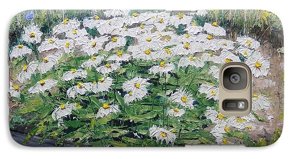 Galaxy Case featuring the painting Daisies by Annamarie Sidella-Felts