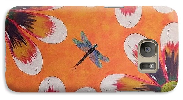 Galaxy Case featuring the painting Daisy And Dragonfly by Cindy Micklos