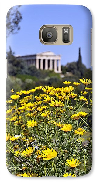 Galaxy Case featuring the photograph Daisy Flowers In Ancient Market by George Atsametakis