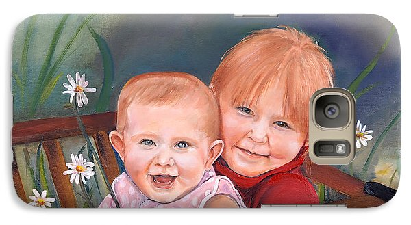 Galaxy Case featuring the painting Daisy - Portrait - Girls In Wagon by Jan Dappen