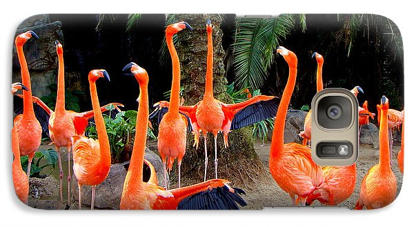 Galaxy Case featuring the photograph Dance Of The Flamingos by Phyllis Beiser