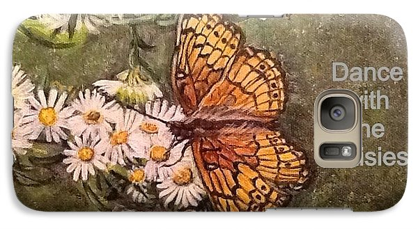 Galaxy Case featuring the painting Dance With The Daisies With An Inspirational Quote by Kimberlee Baxter