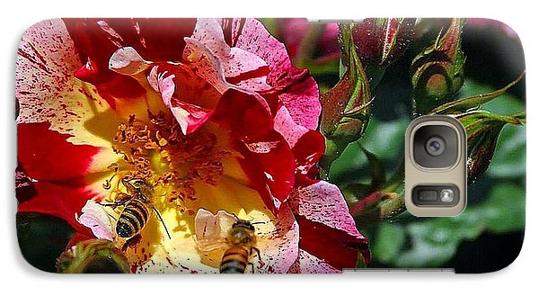 Galaxy Case featuring the photograph Dancing Bees And Wild Roses by Absinthe Art By Michelle LeAnn Scott