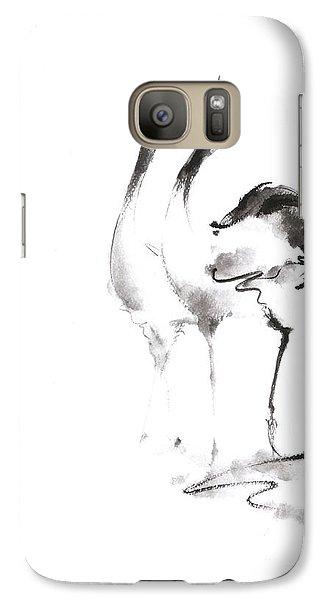 Crane Galaxy S7 Case - Dancing Cranes Japanese Artwork by Mariusz Szmerdt