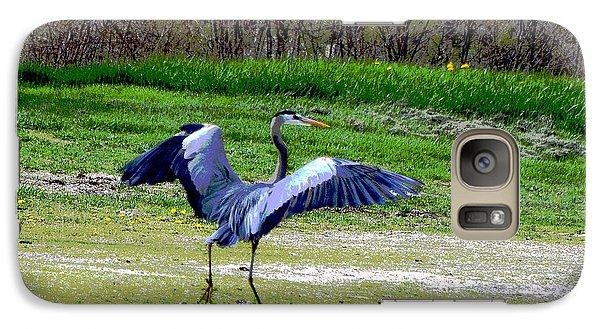 Galaxy Case featuring the digital art Dancing Heron by Kathleen Stephens