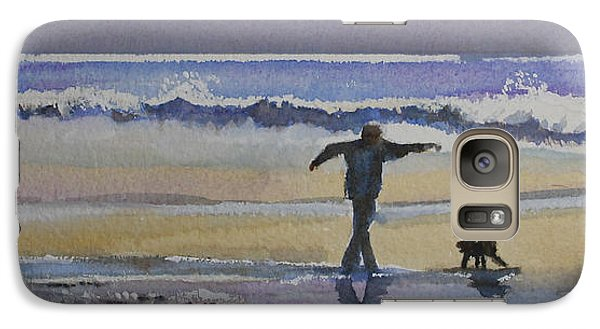 Galaxy Case featuring the painting Dancing On The Beach by Jan Cipolla