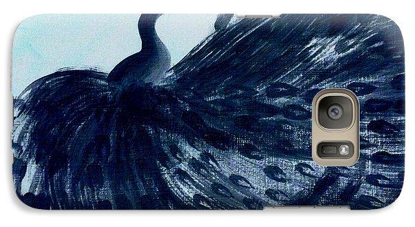 Galaxy Case featuring the digital art Dancing Peacock Aqua by Anita Lewis