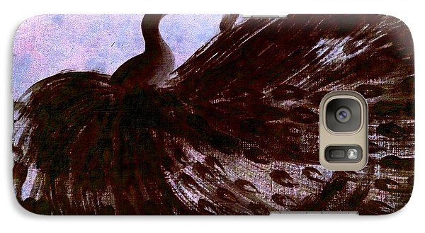 Galaxy Case featuring the digital art Dancing Peacock Blue Pink Wash by Anita Lewis