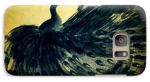 Galaxy Case featuring the painting Dancing Peacock Gold by Anita Lewis
