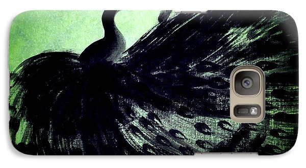 Galaxy Case featuring the digital art Dancing Peacock Green by Anita Lewis