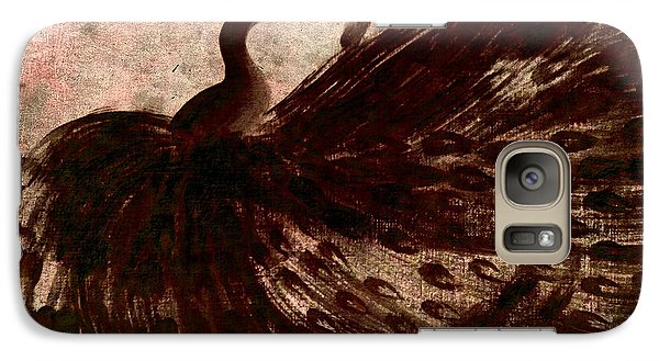 Galaxy Case featuring the painting Dancing Peacock Grey by Anita Lewis
