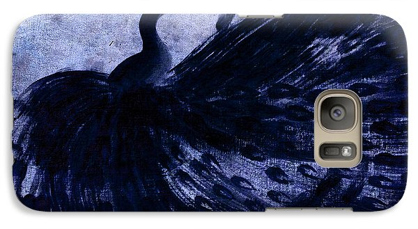 Galaxy Case featuring the painting Dancing Peacock Navy by Anita Lewis