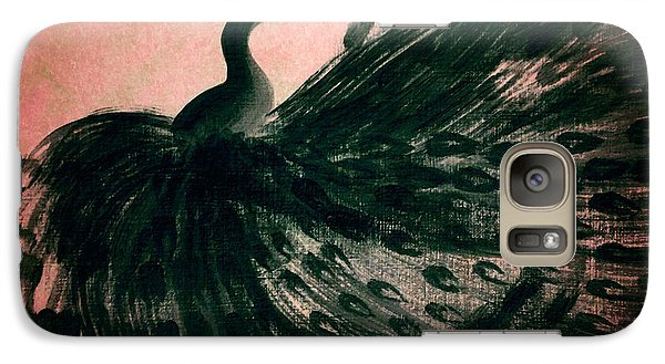 Galaxy Case featuring the digital art Dancing Peacock Pink by Anita Lewis