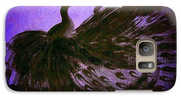 Galaxy Case featuring the digital art Dancing Peacock Vivid Blue by Anita Lewis