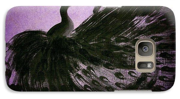 Galaxy Case featuring the digital art Dancing Peacock Vivid Purple by Anita Lewis
