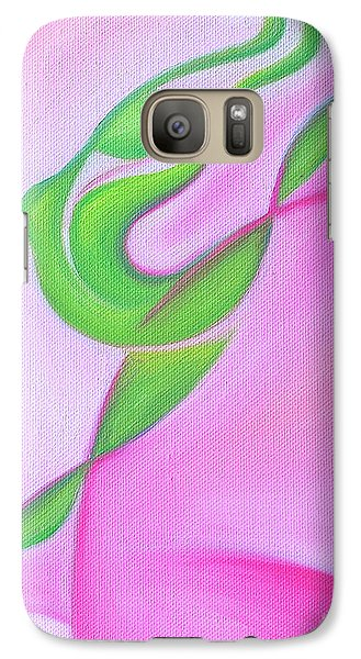 Galaxy Case featuring the painting Dancing Sprite In Pink And Green by Tiffany Davis-Rustam
