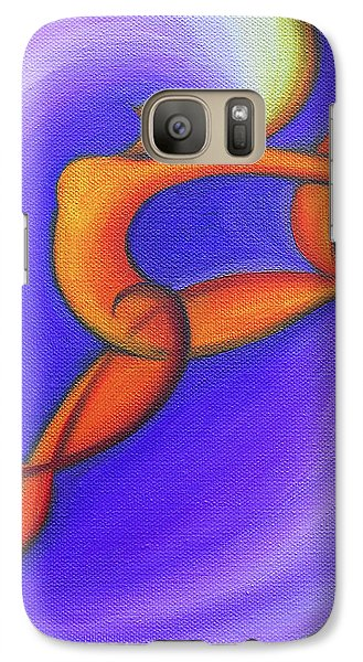 Galaxy Case featuring the painting Dancing Sprite In Purple And Orange by Tiffany Davis-Rustam