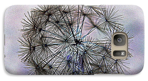 Galaxy Case featuring the photograph Dandelion Blue And Purple by Kathy Barney