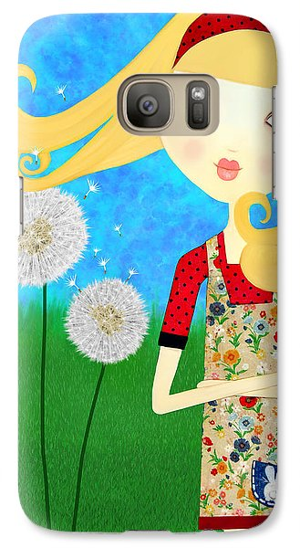 Galaxy Case featuring the painting Dandelion Wishes by Laura Bell
