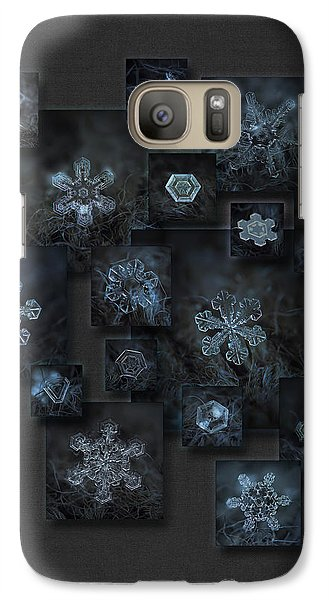 Galaxy Case featuring the photograph Snowflake Collage - Dark Crystals 2012-2014 by Alexey Kljatov