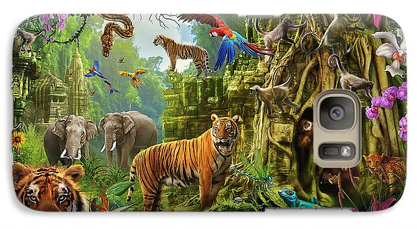 Galaxy Case featuring the drawing Dark Jungle Temple And Tigers by Ciro Marchetti