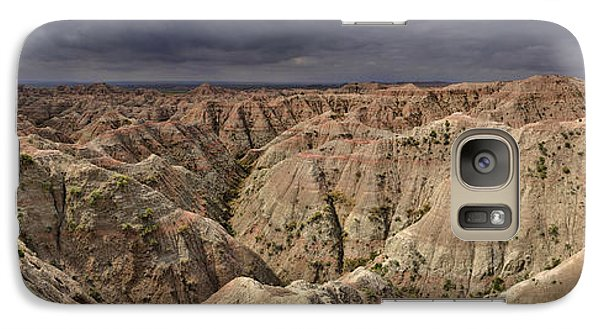 Galaxy Case featuring the photograph Dark Panorama Over The South Dakota Badlands by Sebastien Coursol