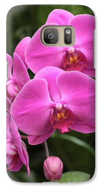 Galaxy Case featuring the photograph Dark Pink Moth Orchids by Harold Rau