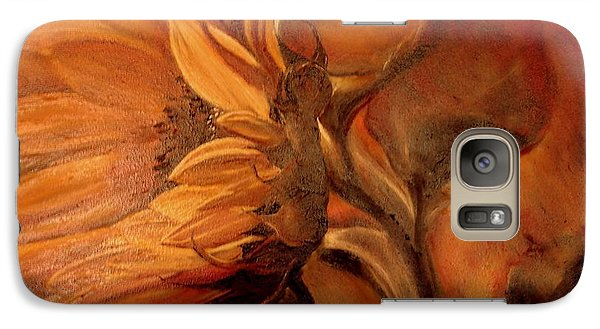 Galaxy Case featuring the painting Dark Sunflower by Sorin Apostolescu