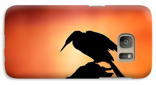 Anhinga Galaxy S7 Case - Darter Silhouette With Misty Sunrise by Johan Swanepoel