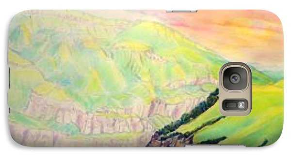Galaxy Case featuring the painting Dawn Like Butter Pouring Over The Inal Plateau Steppe Tyzyl Gorge  Kabardino Nalchik Russia by Anastasia Savage Ealy
