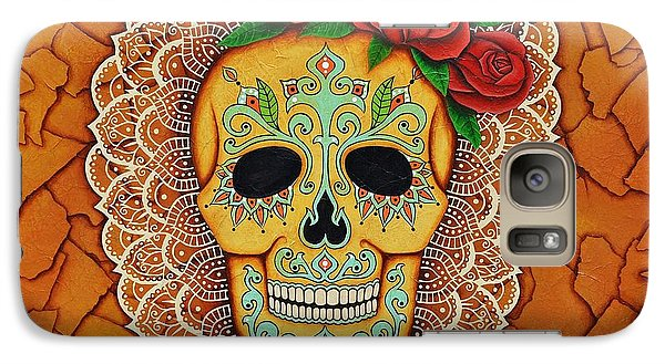 Galaxy Case featuring the painting Day Of The Dead With Roses And Lace by Joseph Sonday
