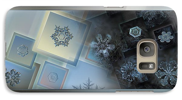 Galaxy Case featuring the photograph Snowflake Collage - Daybreak by Alexey Kljatov