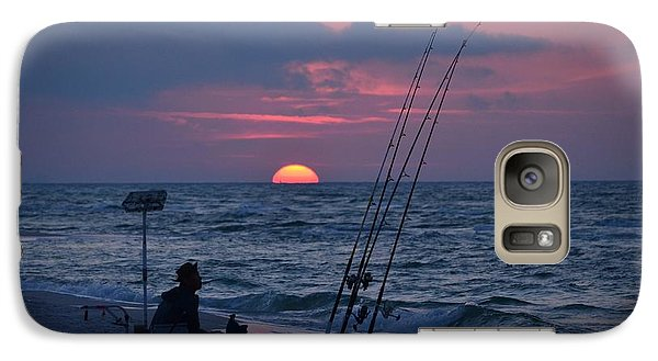 Galaxy Case featuring the photograph Daybreak On Navarre Beach With Deng The Fisherman by Jeff at JSJ Photography
