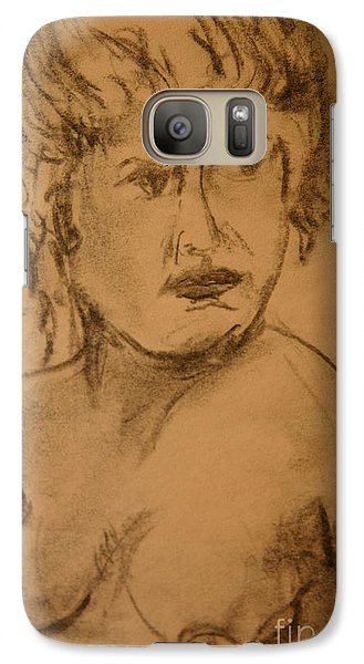 Galaxy Case featuring the drawing Daydreaming Nude by Gabrielle Schertz