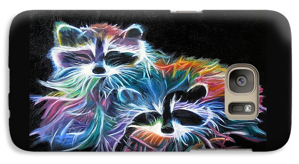 Galaxy Case featuring the painting Dayglow Raccoons by LaVonne Hand