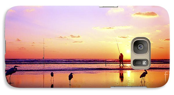 Galaxy Case featuring the photograph Daytona Beach Fl Surf Fishing And Birds by Tom Jelen