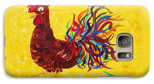Galaxy Case featuring the painting De Colores Rooster by Eloise Schneider