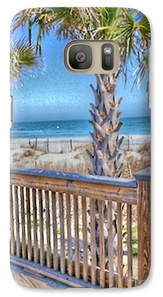 Galaxy Case featuring the photograph Deck On The Beach by Gayle Price Thomas