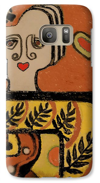 Galaxy Case featuring the painting Deco Queen Of Hearts by Carol Jacobs