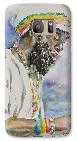 Galaxy Case featuring the painting Deep In Thought by Mary Haley-Rocks