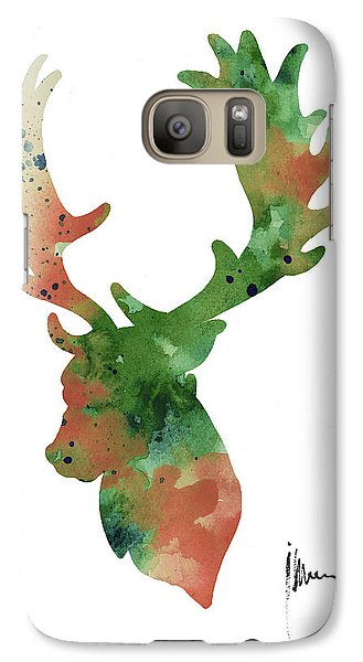 Deer Antlers Silhouette Watercolor Art Print Painting Galaxy Case by Joanna Szmerdt