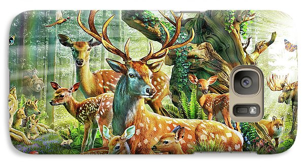 Galaxy Case featuring the drawing Deer Family In The Forest by Adrian Chesterman