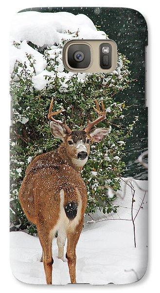 Galaxy Case featuring the photograph Deer In Falling Snow by Peggy Collins