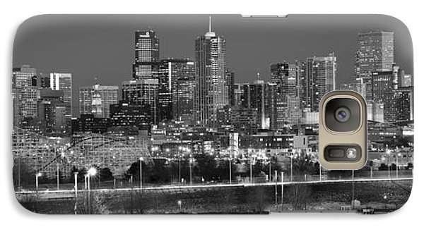Galaxy Case featuring the photograph Denver Skyline At Dusk Black And White Bw Evening Panorama Broncos Colorado  by Jon Holiday