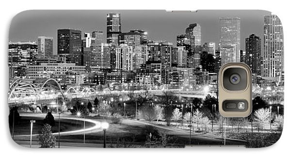Galaxy Case featuring the photograph Denver Skyline At Dusk Evening Bw Black And White Evening Panorama Broncos Colorado  by Jon Holiday